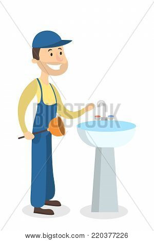 Isolated plumber man with sink on white background.