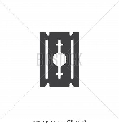 Razor blade icon vector, filled flat sign, solid pictogram isolated on white. Symbol, logo illustration.