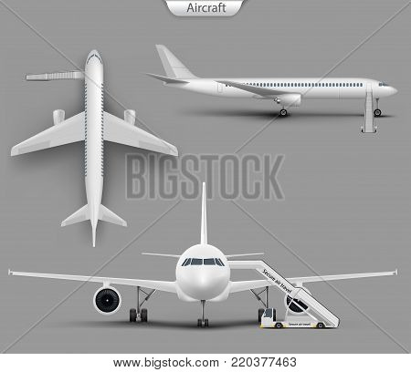 Vector realistic white aircraft mockup set. Blank airplane, airliner with jet ladder from top, side and front view. 3d detailed commercial jet passenger plane template. Illustration on grey background