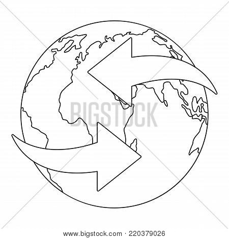 Moving earth icon. Outline illustration of moving earth vector icon for web