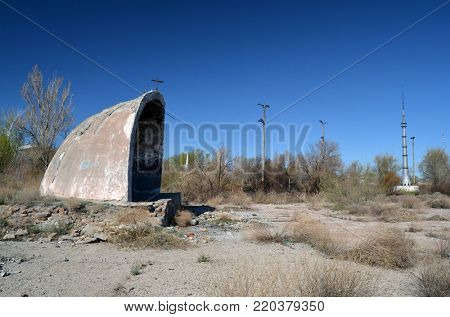 Abandoned Soviet military base in Central Asia.civilian residential area.