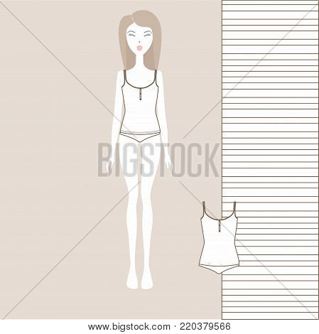 girl in underwear, women's underwear, panties, top, bustier,