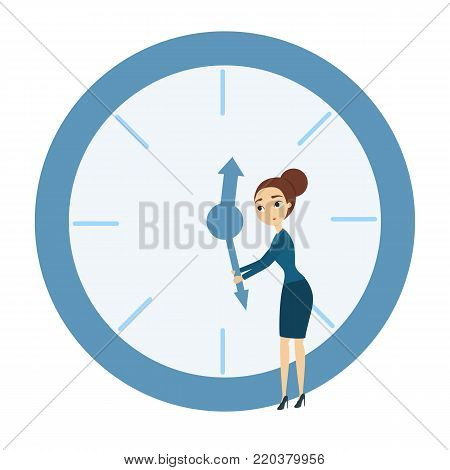 Time management concept. Woman trying to delay time.
