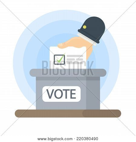 Isolated vote box. Hand putting voting paper inside.