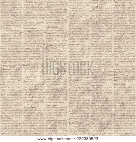 Beige Brown Yellow Old Paper Vintage Newspaper Texture Grunge Background News Text Collage Seamless