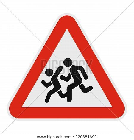 Children crossing the road icon. Flat illustration of children crossing the road vector icon for web.