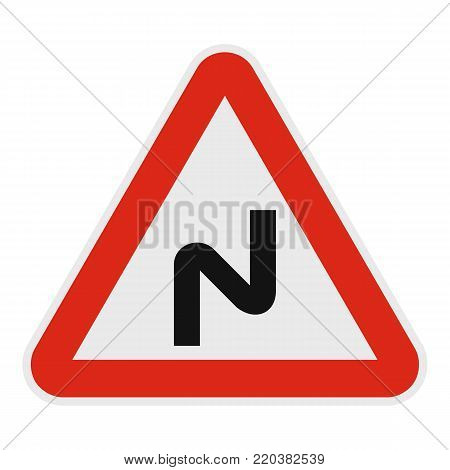 Dangerous turn left icon. Flat illustration of dangerous turn left vector icon for web.