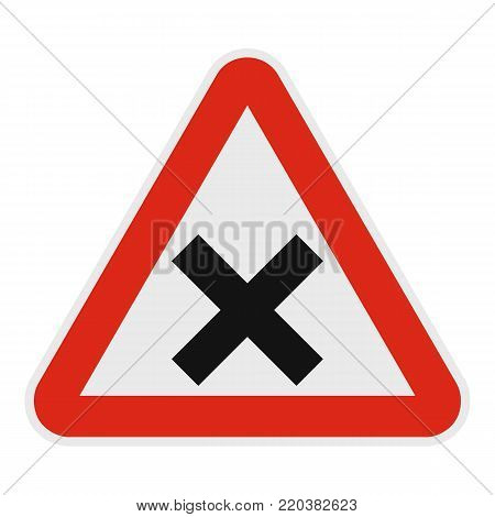 Warning of intersection road icon. Flat illustration of warning of intersection road vector icon for web.