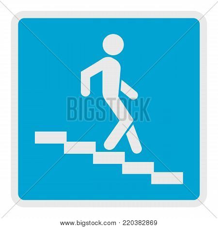 Man descending the stairway icon. Flat illustration of man descending the stairway vector icon for web.