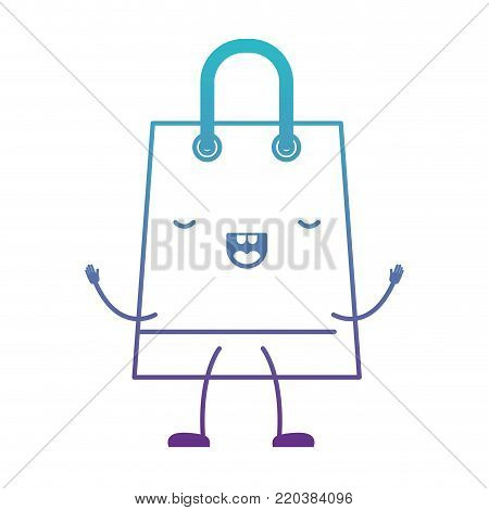 trapezoid animated kawaii shopping bag icon with handle in degraded blue to purple color contour vector illustration poster