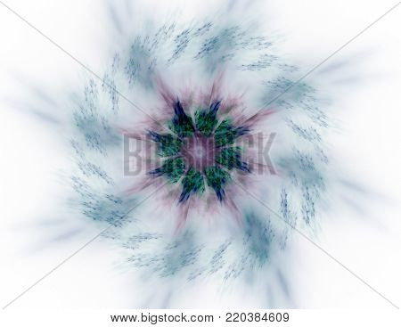 Colorful glowing neuron fractal on white background