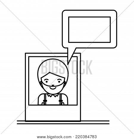 man social network picture profile dialogue comments in monochrome silhouette vector illustration