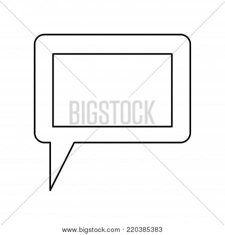 dialogue box icon with tail and frame in monochrome silhouette vector illustration