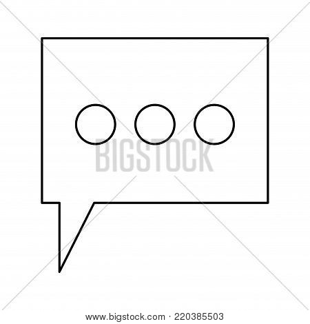 dialogue box with tail and three suspension points in monochrome silhouette vector illustration