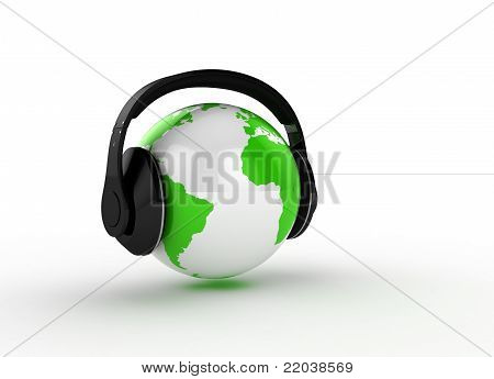 world planet with hearphones