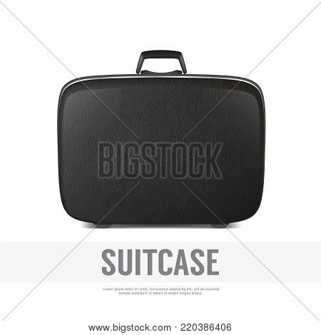 Realistic background with vector retro vintage leather black suitcase closeup. Design template, clipart or mockup for graphics, branding, advertising. Side view.