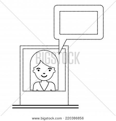 woman social network picture profile dialogue comments in monochrome dotted silhouette vector illustration