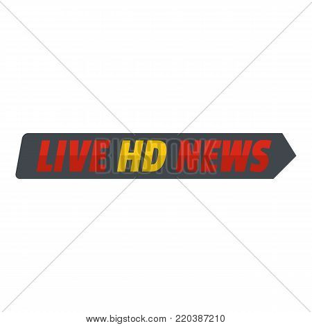 Live hd news icon. Flat illustration of live hd news vector icon for web.
