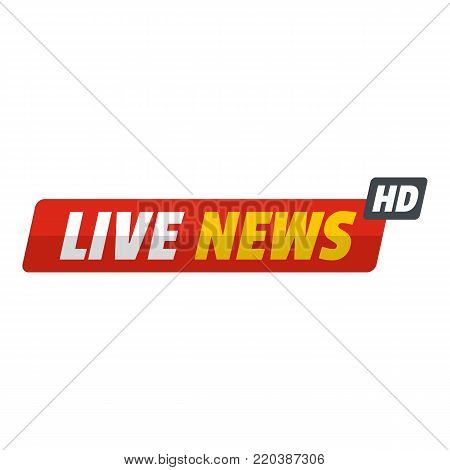 Live new with hd icon. Flat illustration of live new with hd vector icon for web.