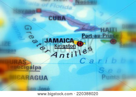 Island country of Jamaica. This island country is part of the Greater Antilles, Caribbean Sea.