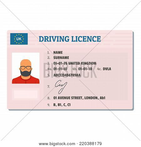 English driving license icon. Flat illustration of english driving license vector icon for web.