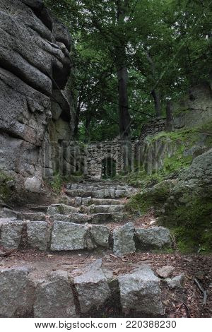 Ruins of old castle Chojnik in Poland