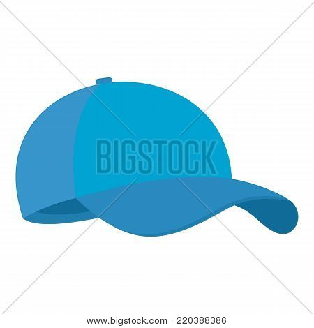 Blue baseball cap icon. Flat illustration of blue baseball cap vector icon for web.