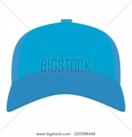 Baseball cap in front icon. Flat illustration of baseball cap in front vector icon for web.