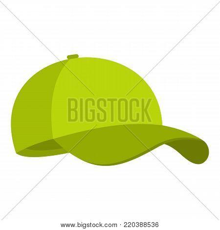 Green baseball cap icon. Flat illustration of green baseball cap vector icon for web.
