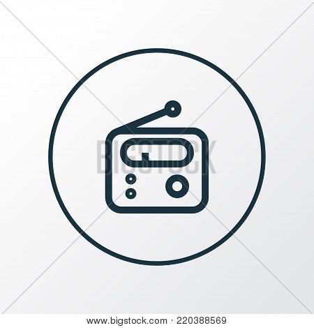 Radio icon line symbol. Premium quality isolated tuner element in trendy style.