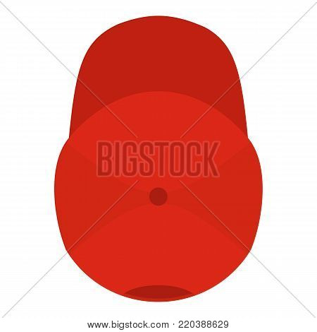 Red baseball cap icon. Flat illustration of red baseball cap vector icon for web.