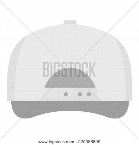 White baseball cap back icon. Flat illustration of white baseball cap back vector icon for web.