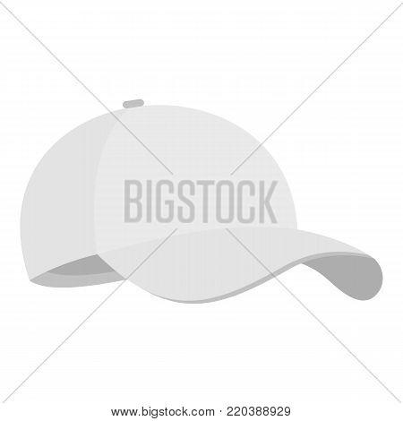 White baseball cap icon. Flat illustration of white baseball cap vector icon for web.