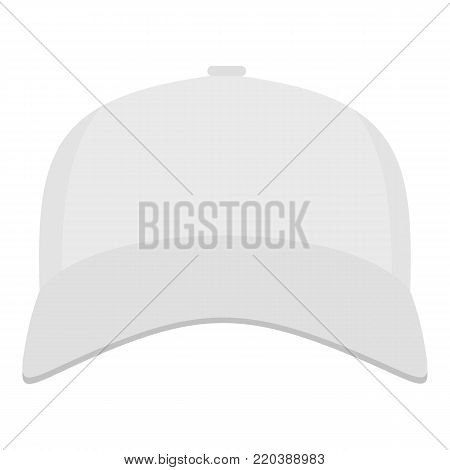 White baseball cap in front icon. Flat illustration of white baseball cap in front vector icon for web.
