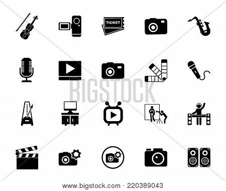Photo, video and music icon set. Celebrity, entertainment, hobby. Show business concept. Can be used for topics like art, leisure, technology