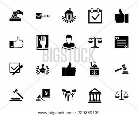 Politics icon set. Can be used for topics like court, election, jurisprudence, law