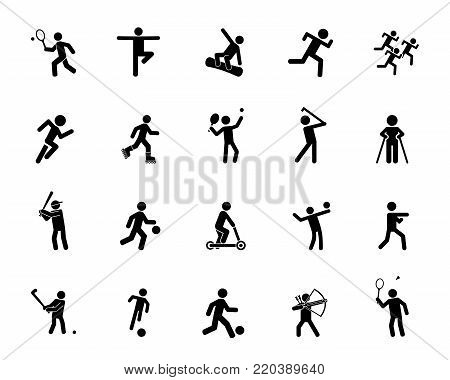 Sports activity icon set. Professional sport, sportsman, activity. Sport concept. Can be used for topics like leisure, hobby, fitness