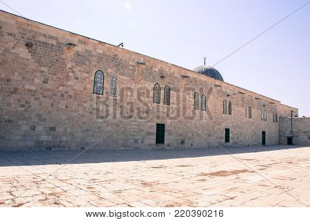 Horizontal picture of historical Al Aqsa Mosque and old pillars located inside the walls of Old Jerusalem, Israel.