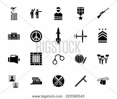 War and army icon set. Can be used for topics like military service, force, crime, investigation