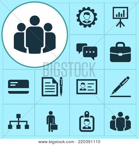 Job icons set with id badge, leader, pen and other id badge elements. Isolated  illustration job icons.