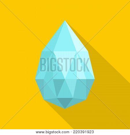 Teardrop shaped diamond icon. Flat illustration of teardrop shaped diamond vector icon for web.