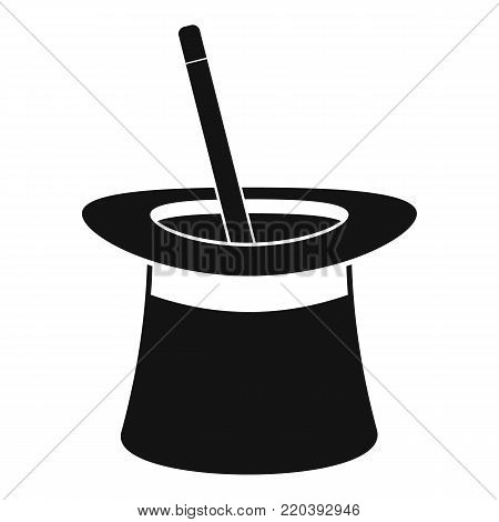 Wand in hat icon. Simple illustration of wand in hat vector icon for web.