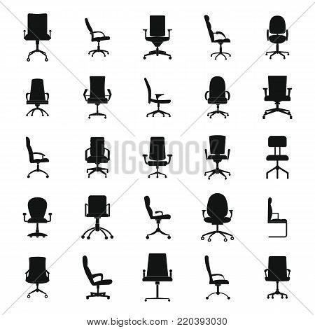 Office chair icons set. Simple illustration of 25 office chair vector icons for web