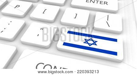 Israel Racing to the Future with Man Holding Flag 3d Render