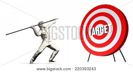 Aiming For Target with Bullseye Target on White 3d Render