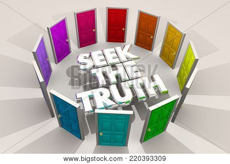 Seek the Truth Doors Find Search Answers 3d Illustration