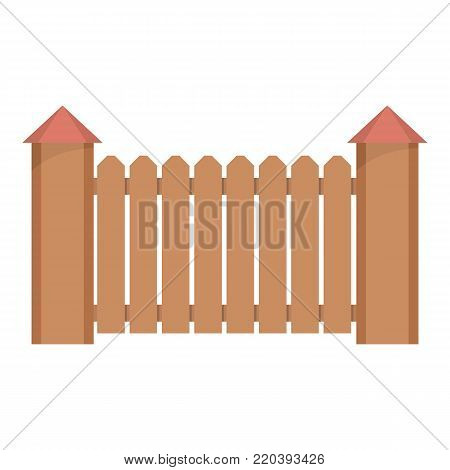 Fence with turret icon. Flat illustration of fence with turret vector icon for web.
