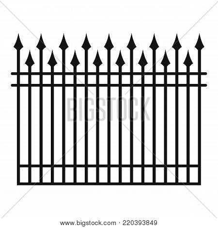 Fence with metal rod icon. Simple illustration of fence with metal rodvector icon for web.