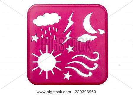 Weather stencil shapes on a pink background