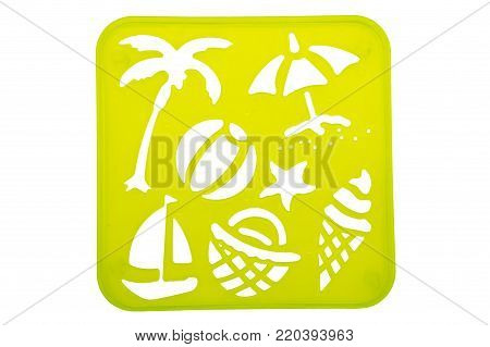 Vacation stencil shapes on a yellow background